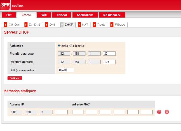 Onglet de configuration d'un serveur DHCP de box internet