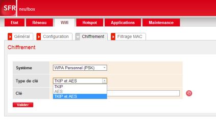 L'interface de configuration d'un routeur fibre SFR