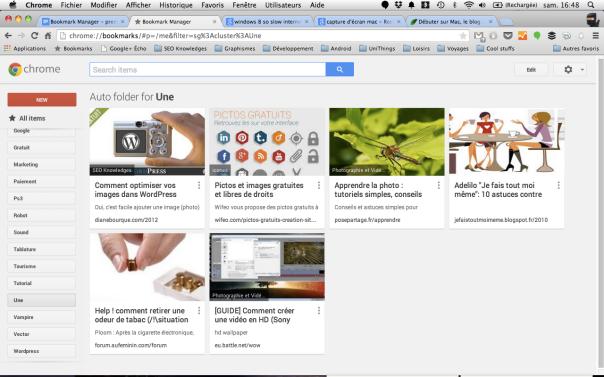 Google Bookmark Manager tri vos favoris automatiquement